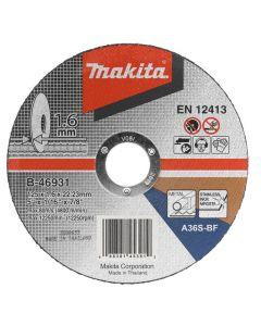 Makita B-46931 Doorslijpschijf 125x22,23x1,6mm RVS