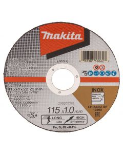 Makita E-03034-12 Doorslijpschijf 115x22,23x1,0mm RVS